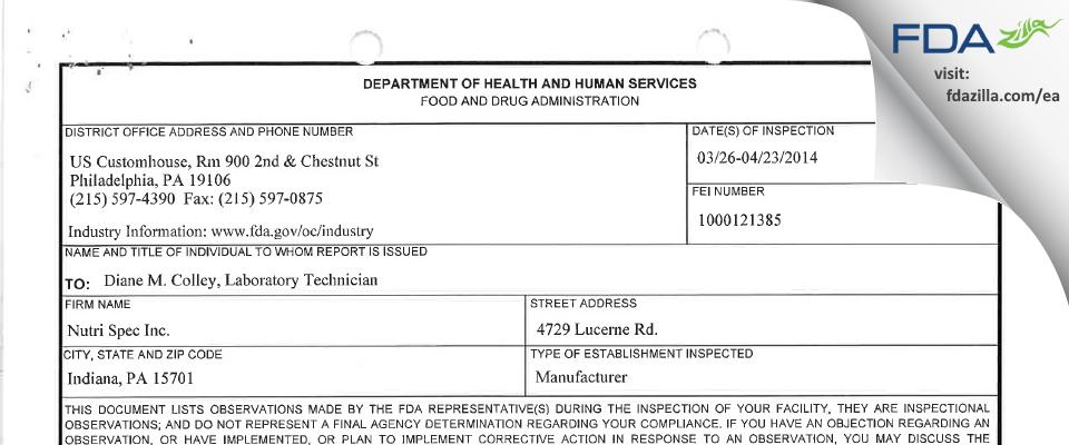 Nutri Spec Testing FDA inspection 483 Apr 2014