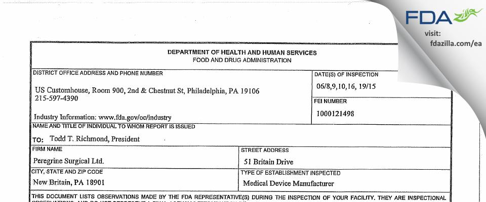 Peregrine Surgical FDA inspection 483 Jun 2015