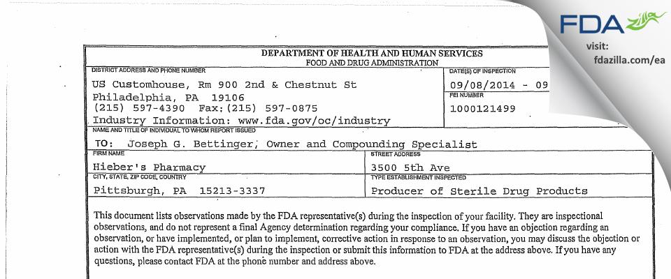 Hieber's Pharmacy FDA inspection 483 Sep 2014