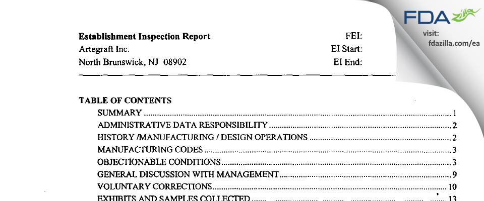 Artegraft FDA inspection 483 Jun 2003