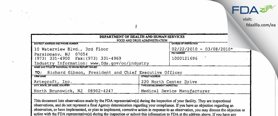 Artegraft FDA inspection 483 Mar 2010