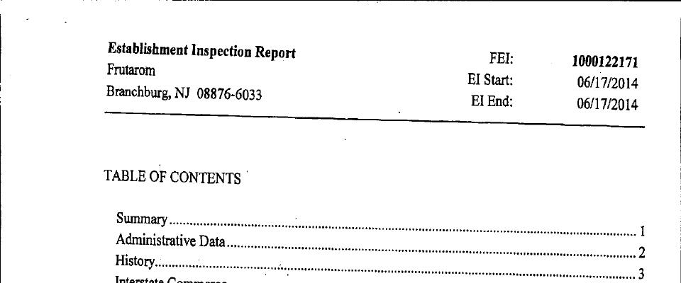 Frutarom FDA inspection 483 Jun 2014
