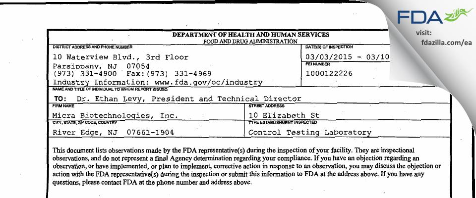 Micra Biotechnologies FDA inspection 483 Mar 2015