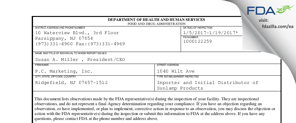P.C. Marketing FDA inspection 483 Jan 2017