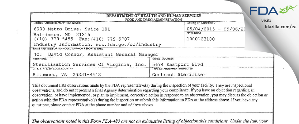 Sterilization Services Of Virginia FDA inspection 483 May 2015