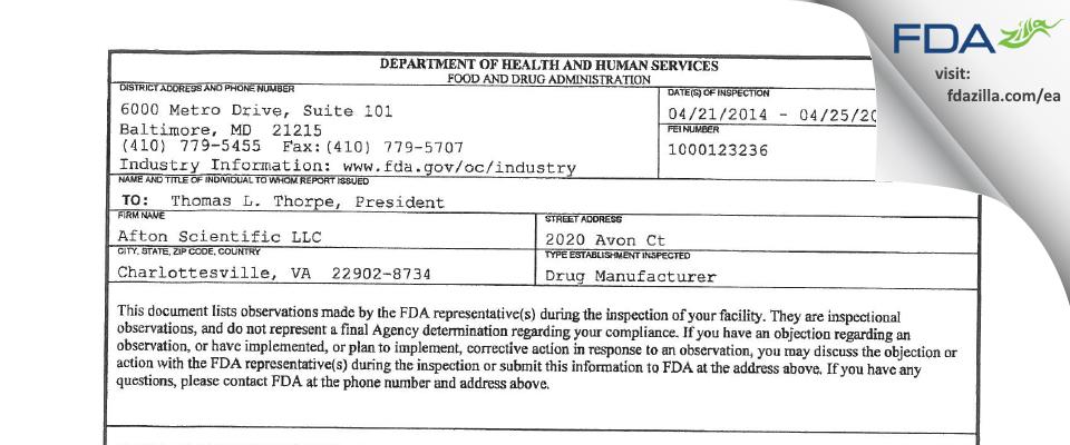 Afton Scientific FDA inspection 483 Apr 2014