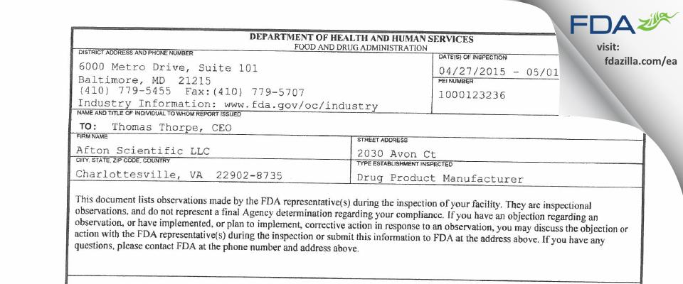 Afton Scientific FDA inspection 483 May 2015