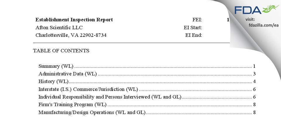 Afton Scientific FDA inspection 483 Jun 2019