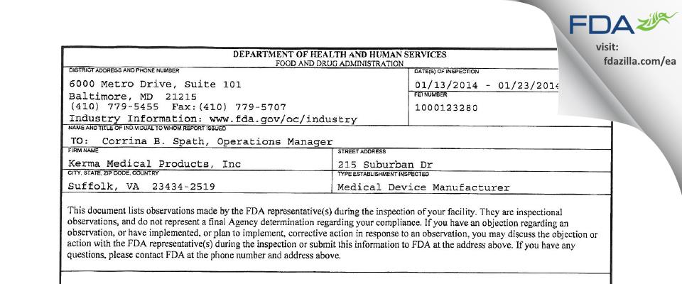 Kerma Medical Products FDA inspection 483 Jan 2014