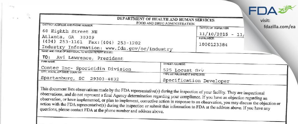 Contec- Sporicidin Division FDA inspection 483 Nov 2015