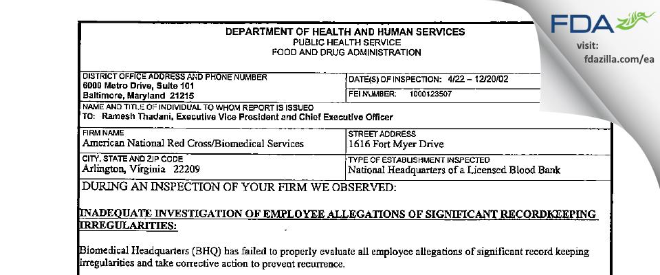 American Red Cross National Headquarters FDA inspection 483 Dec 2002
