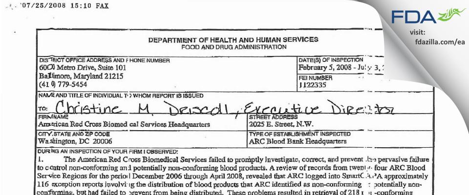 American Red Cross National Headquarters FDA inspection 483 Jul 2008