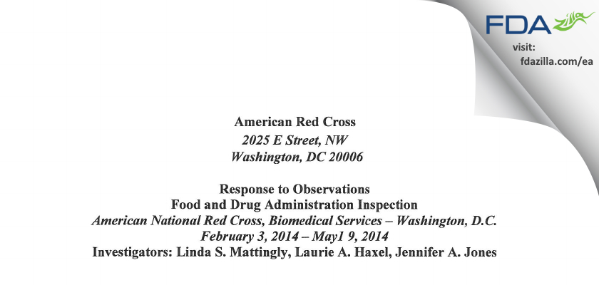 American Red Cross National Headquarters FDA inspection 483 May 2014