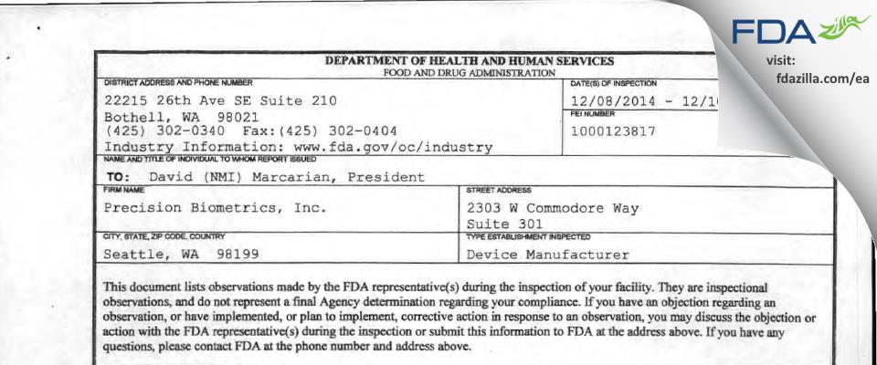 Precision Biometrics FDA inspection 483 Dec 2014