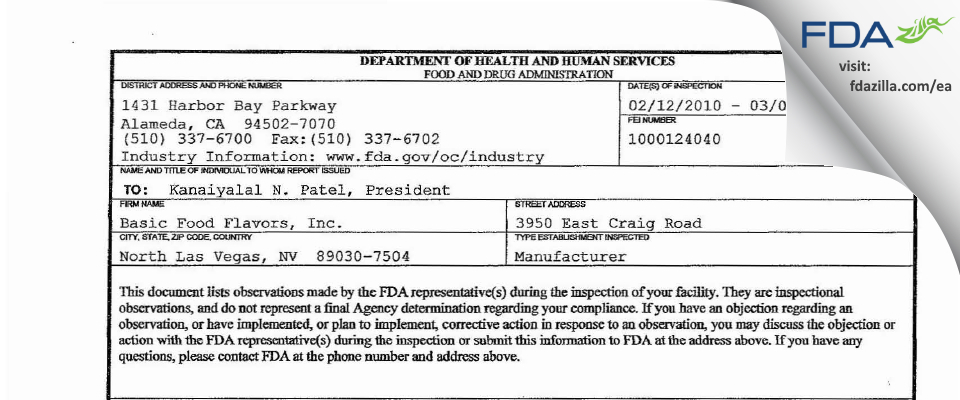 Basic Food Flavors FDA inspection 483 Mar 2010