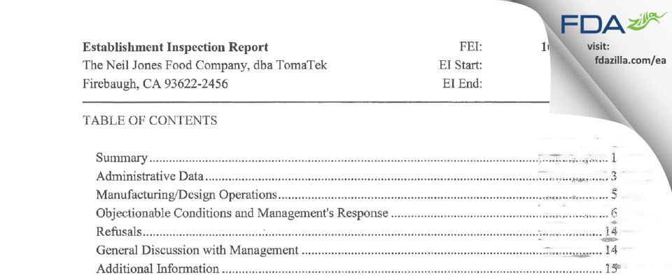 The Neil Jones Food Company, dba TomaTek FDA inspection 483 Jan 2017