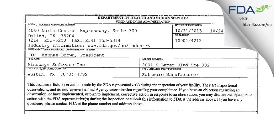Mindways Software FDA inspection 483 Oct 2013