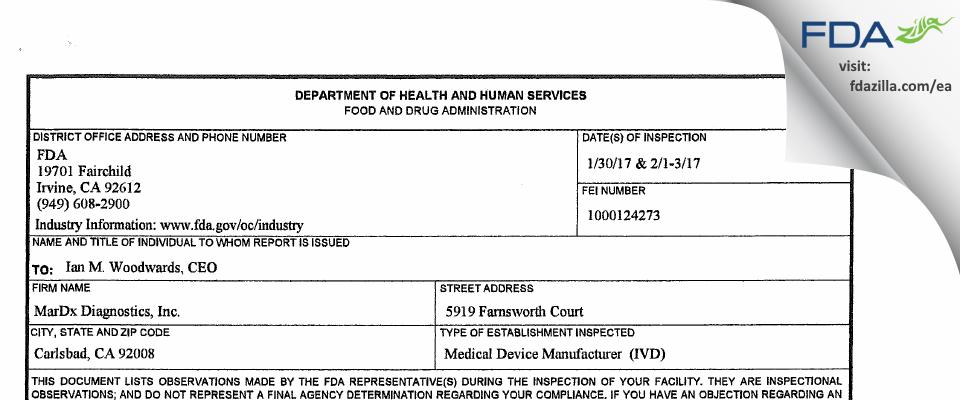 Mardx Diagnostics FDA inspection 483 Feb 2017