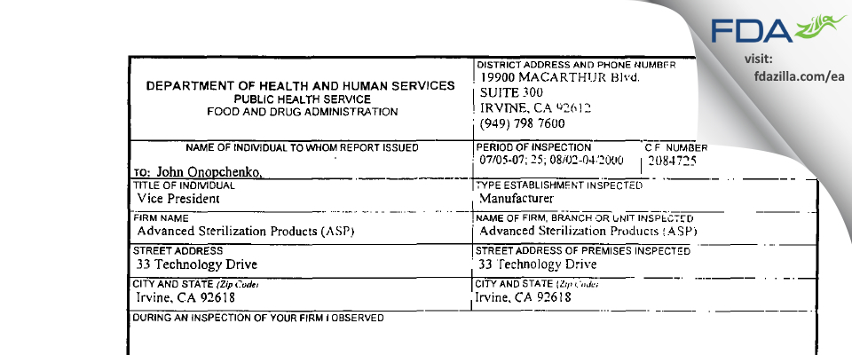 Advanced Sterilization Products FDA inspection 483 Aug 2000