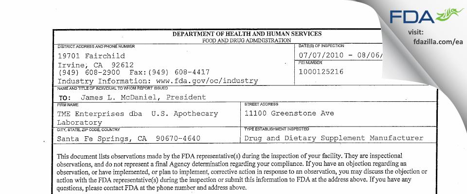 Titan Medical Enterprises DBA U.S. Apothecary Labs FDA inspection 483 Aug 2010