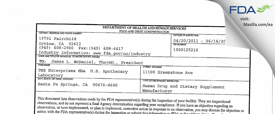 Titan Medical Enterprises DBA U.S. Apothecary Labs FDA inspection 483 Jun 2011