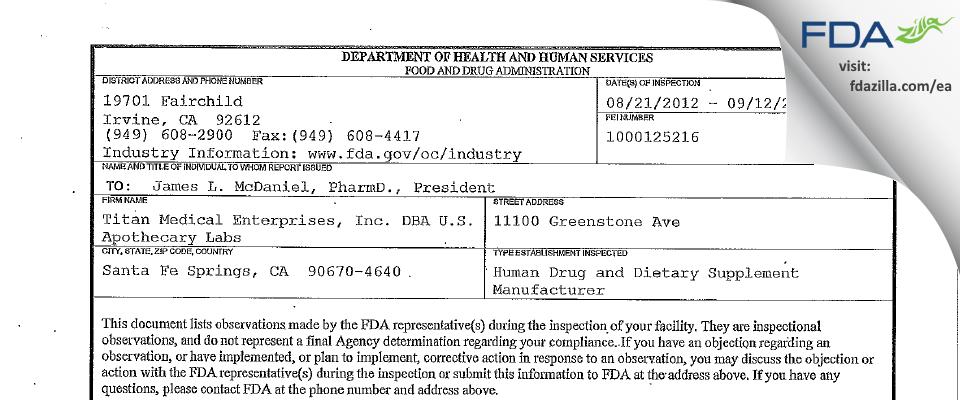 Titan Medical Enterprises DBA U.S. Apothecary Labs FDA inspection 483 Sep 2012