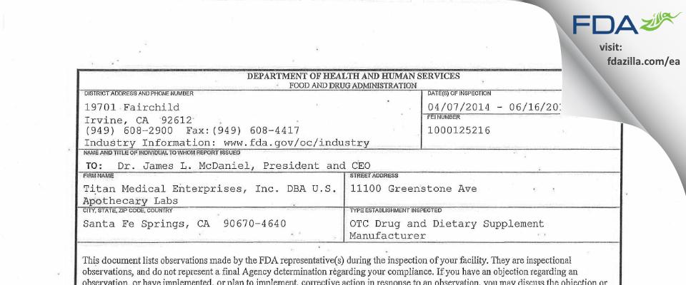 Titan Medical Enterprises DBA U.S. Apothecary Labs FDA inspection 483 Jun 2014