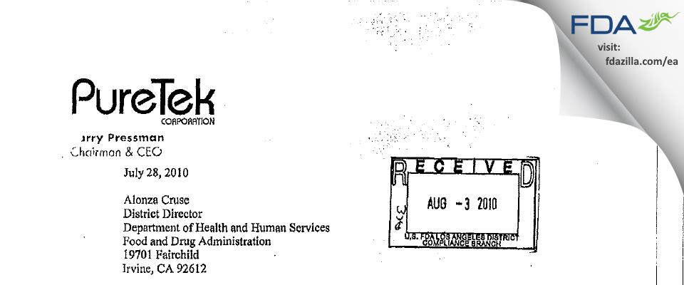 PureTek FDA inspection 483 Jul 2010