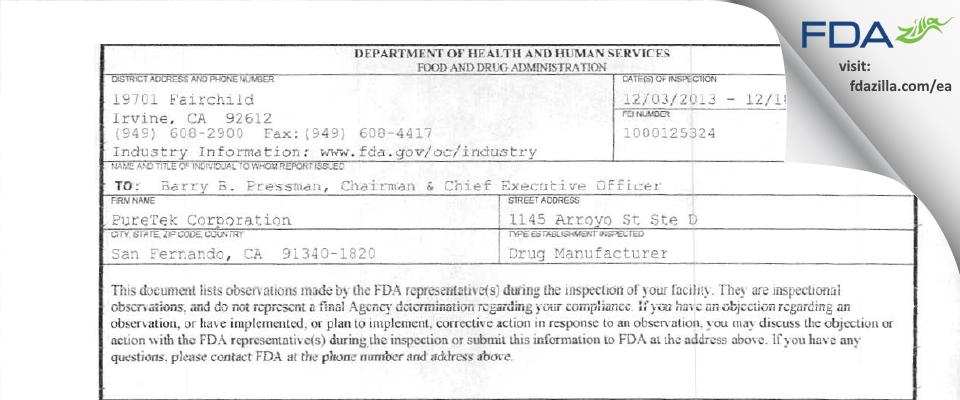 PureTek FDA inspection 483 Dec 2013