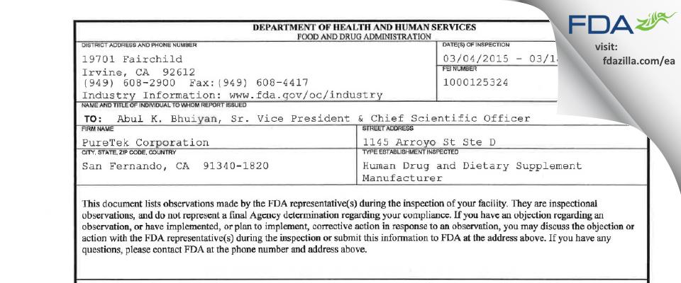 PureTek FDA inspection 483 Mar 2015