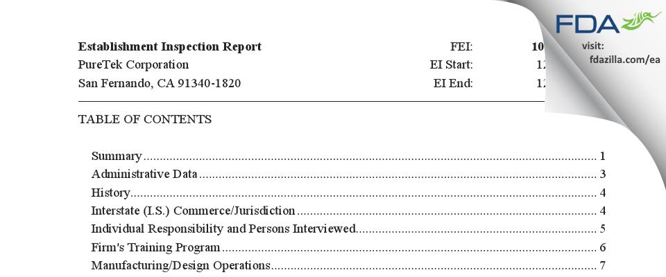 PureTek FDA inspection 483 Dec 2017