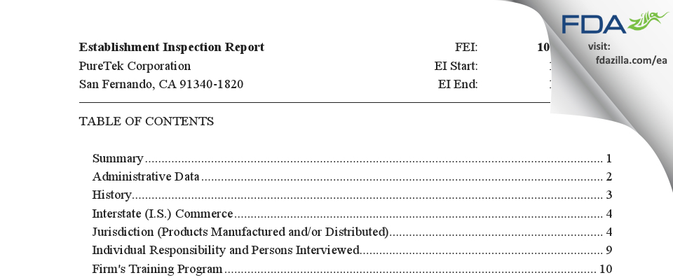PureTek FDA inspection 483 Jan 2020