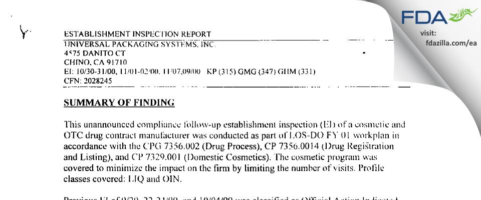 Universal Packaging Systems (dba PakLab) FDA inspection 483 Nov 2000