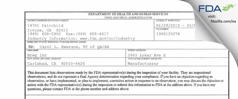 Breg FDA inspection 483 Feb 2015