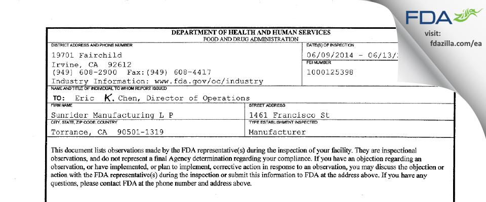 Sunrider Manufacturing L P FDA inspection 483 Jun 2014