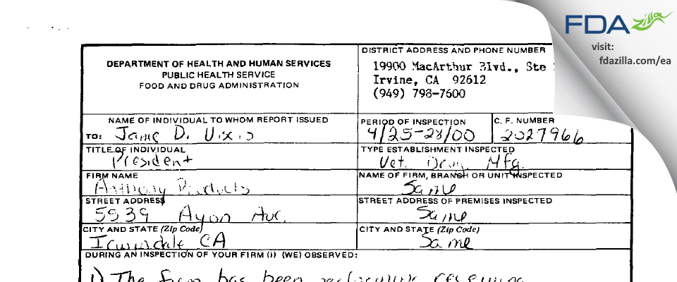 Constant Irwindale FDA inspection 483 Apr 2000