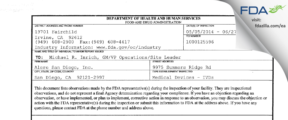 Alere San Diego FDA inspection 483 Jun 2014