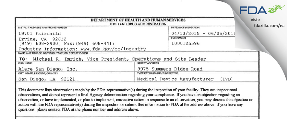 Alere San Diego FDA inspection 483 Jun 2015