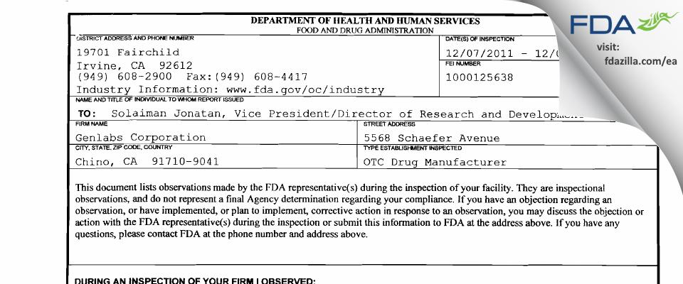 Genlabs FDA inspection 483 Dec 2011