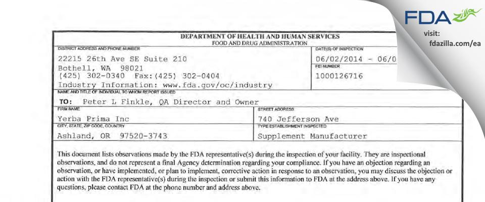 Yerba Prima FDA inspection 483 Jun 2014
