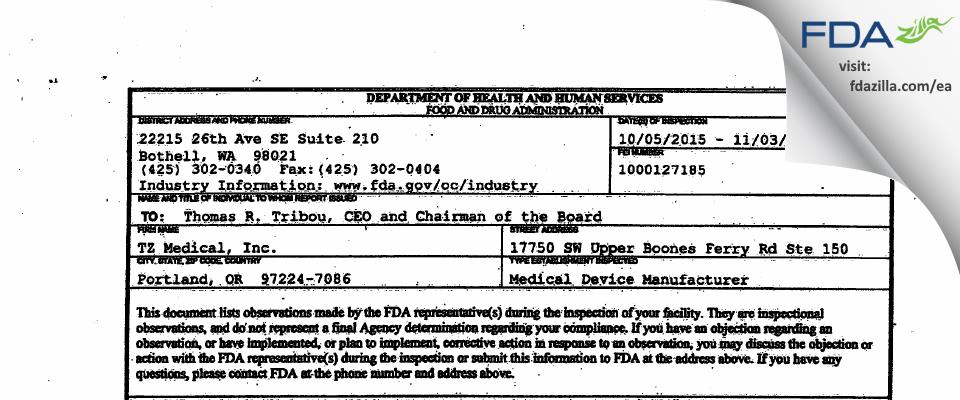 TZ Medical FDA inspection 483 Nov 2015