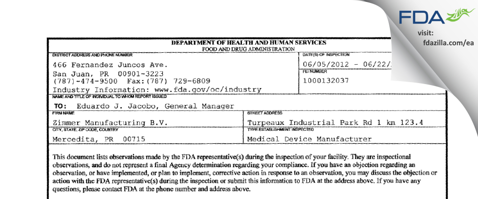 Zimmer Manufacturing B.V. FDA inspection 483 Jun 2012