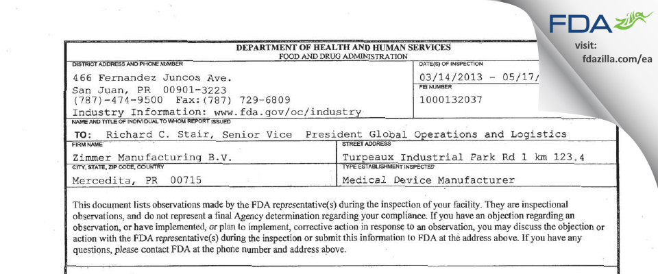 Zimmer Manufacturing B.V. FDA inspection 483 May 2013