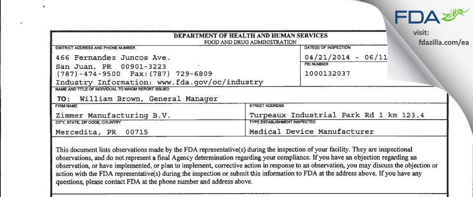Zimmer Manufacturing B.V. FDA inspection 483 Jun 2014
