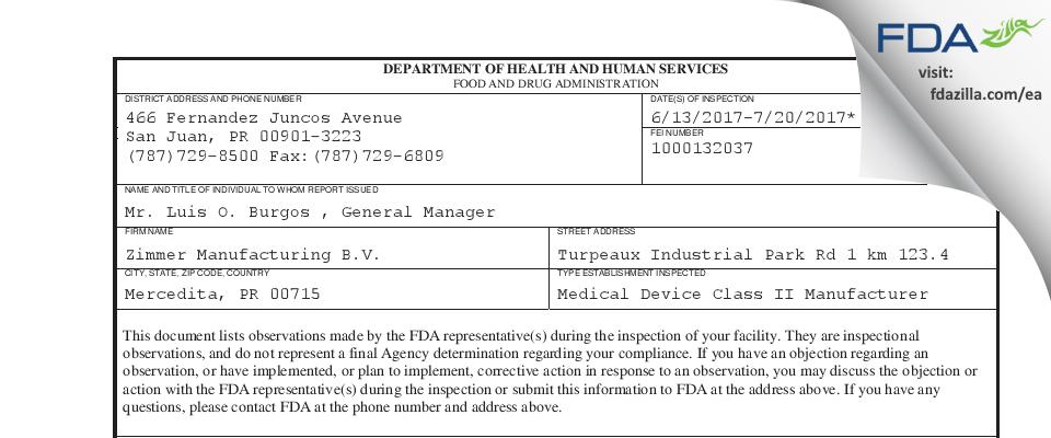 Zimmer Manufacturing B.V. FDA inspection 483 Jul 2017