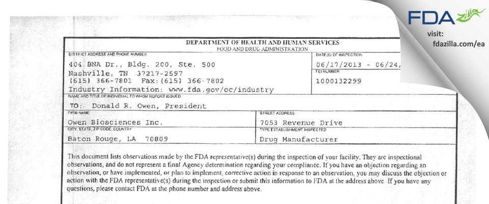 Owen Biosciences FDA inspection 483 Jun 2013