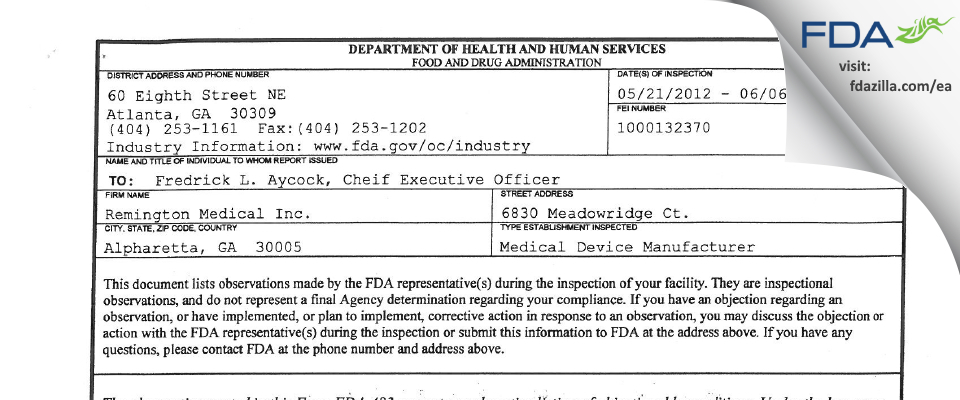 Remington Medical FDA inspection 483 Jun 2012