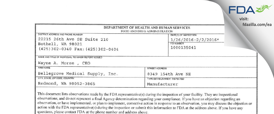 Bellegrove Medical Supply FDA inspection 483 Feb 2016