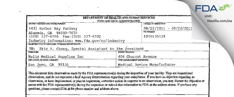 Helio USA FDA inspection 483 Sep 2011