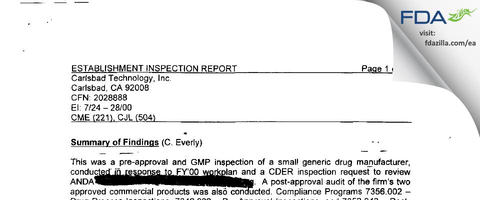 Carlsbad Technology FDA inspection 483 Jul 2000